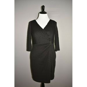 KAY UNGER Textured Surplice Neckline Sheath Dress